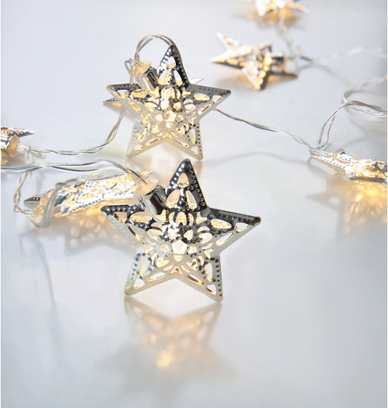 2m 20 Silver Star Battery Fairy Lights - Warm White - Party Lights Company