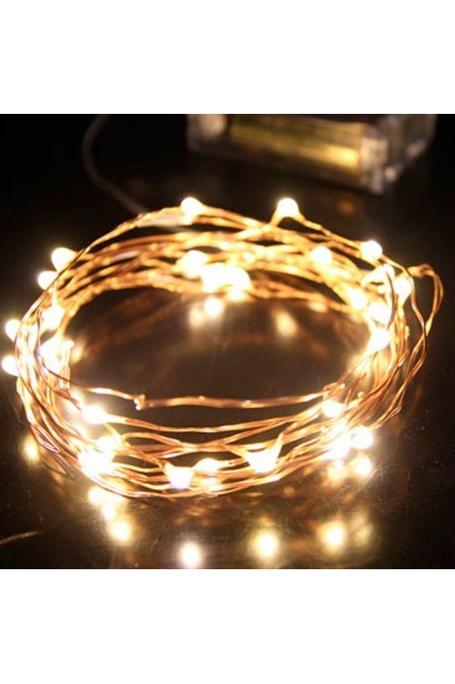 Battery String Lights Nz : 2m 20LED Copper/Sliver Wire Seed Fairy Lights - Warm White - Party Lights Company