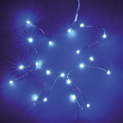 2m 20LED Silver Wire Seed Fairy Lights - White