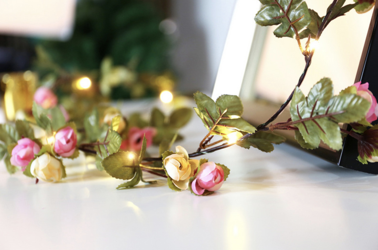 2m 20leds Pink Rose Garland Copper Wire Seed Fairy Lights