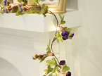 2m 20LEDs Purple Rose Garland Copper Wire Seed Fairy Lights - Warm White