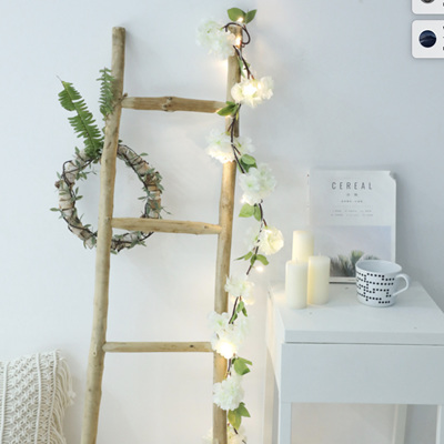2m 20LEDs White Hydrangea Garland Silver Wire Seed Fairy Lights - Warm White
