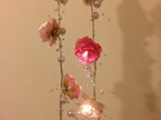 2m Rambling Pink Rose Flower with Pearls String Fairy Lights - Warm White