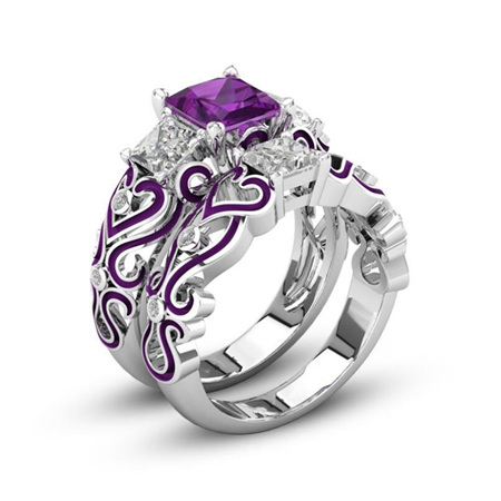 2pc Purple Heart Ring Set - US10