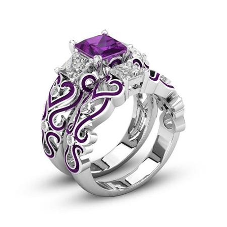 2pc Purple Heart Ring Set - US8