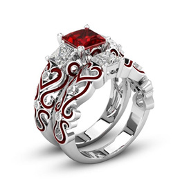 2pc RED HEART RING SET - SIZE US10