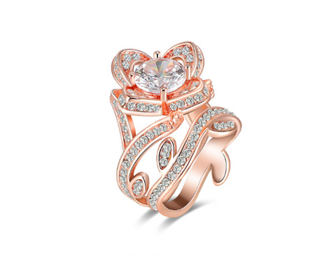 2pc Rose Design Rose Gold Ring US8