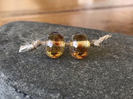 2x Handmade glass beads - frit - Golden orange