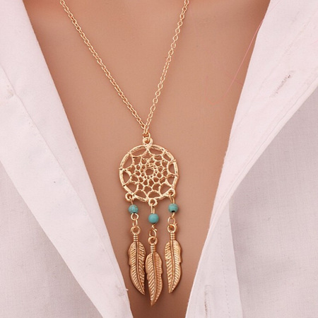 3 Bead Dreamcatcher Necklace  - Gold
