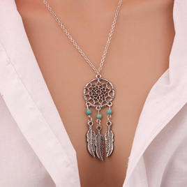3 Bead Dreamcatcher Necklace  - Silver