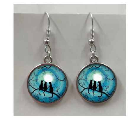 3 Cats & a Blue Moon Glass Earrings