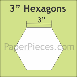 "3"" Hexagon Paper Pieces 300 Pack HEX300B"