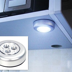 3-LED Under Cabinet Push Tap Touch Stick On Night Light Lamps