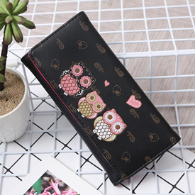 3 Owl Wallet - Black