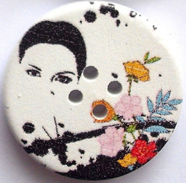 30mm Wooden Button: Tropical Lady and Flowers **Buy 5 for the price of 4**