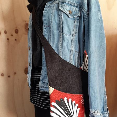 #32 Red Pīwakawaka - Black - Crossover Bag