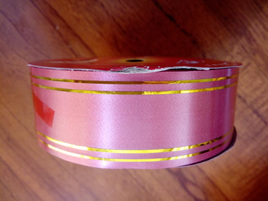 32mm Ribbon Double Gold Band - Pink