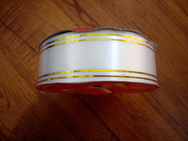 32mm Ribbon Double Gold Band - White