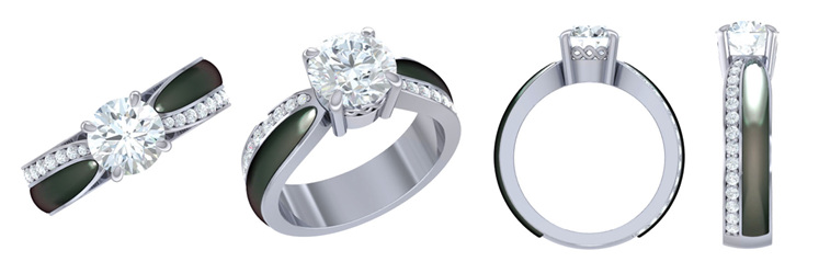 3D CAD render of pounamu and diamond ring engagement ring design