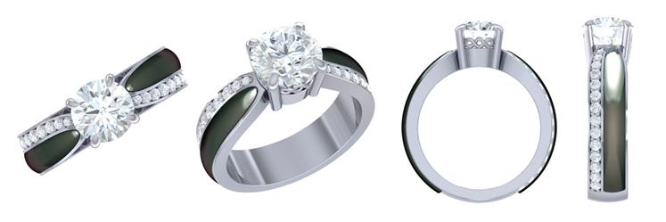 3D CAD render of pounamu and diamond ring engagement ring design