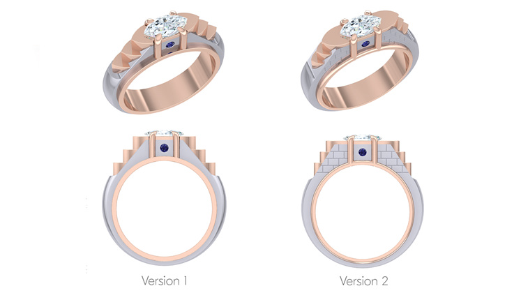 3D photo-real model render of Venice canal bridge inspired diamond ring