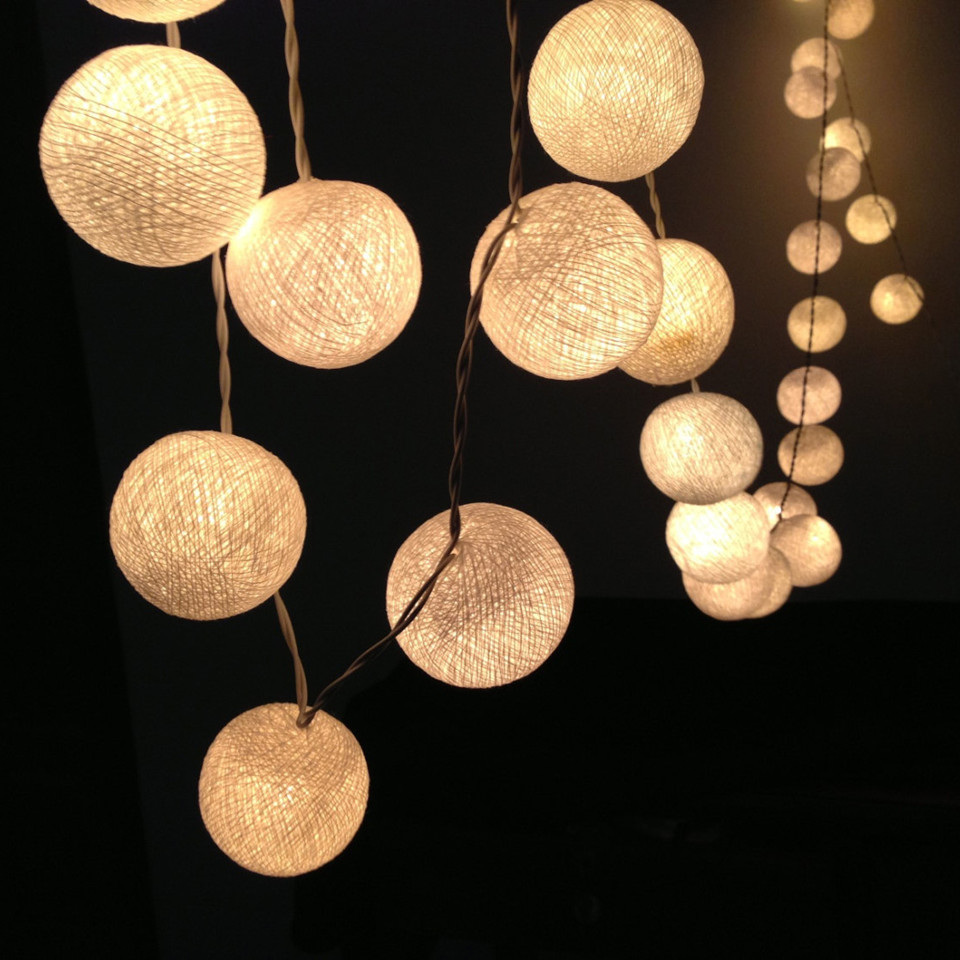 ball fairy lights. cotton ball led string fairy lights - warm white a