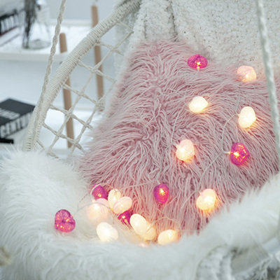 3m 20 Cotton Heart Battery Operated String Fairy Lights - Warm White