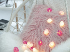 3m 20 Cotton Heart USB String Fairy Lights - Warm White