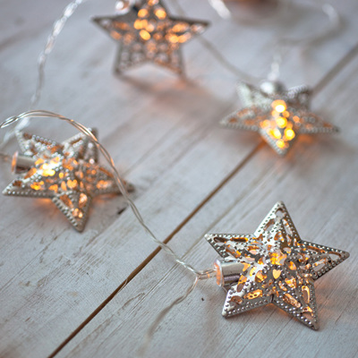 3m 20 Silver Star Battery Fairy Lights - Warm White