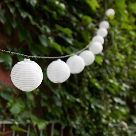 3m 20 White Solar Lantern String Lights - Warm White