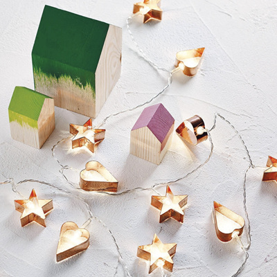 3m Battery Operated Rose Gold Hearts and Stars String Fairy Lights - Warm White