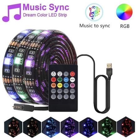 3m or 5m Sound Activated 8 Colour LED Strip Lights