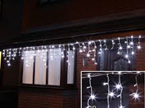 3m Outdoor White Rubber Wire Twinkle Icicle Lights - Warm White