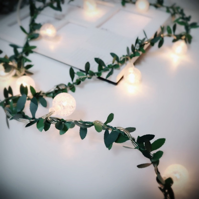 3m Spring Green Leaves with 20 Bubble Lights - Warm White