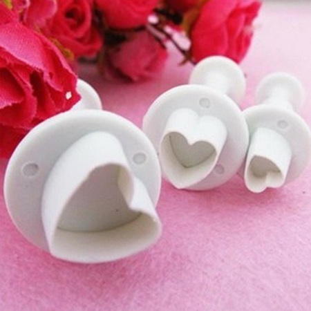 3pc Heart Shaped Fondant Cutter