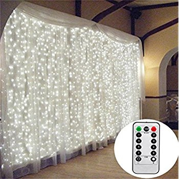 3x3m Connectable Curtain Lights Cool White with Remote Control
