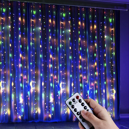 3x3m USB Silver Wire Seed Curtain Lights - Multicolour