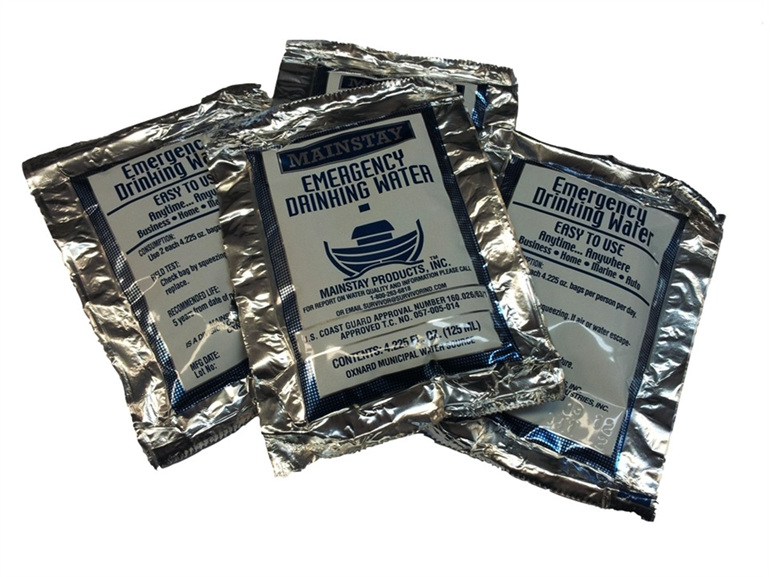 4-Pack of 125ml (500ml total) Emergency Drinking Water Sachets.