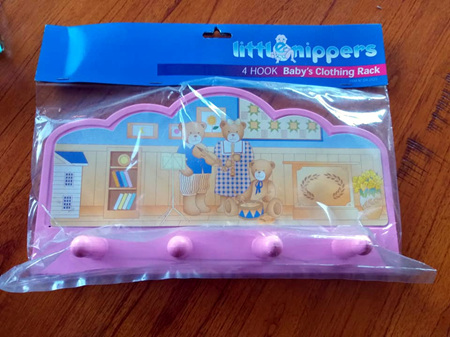 4 Wall Hook Rack for Child - Pink