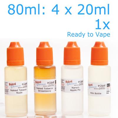4 x 20ml - Ready to Vape - Naked Vapour e-Liquid