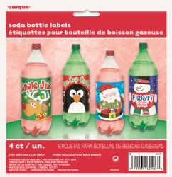 4 x Christmas Soft Drink Bottle Labels