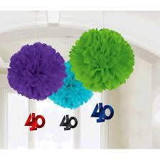 40th Birthday Fluffy Tissue Dec 3 Pack with Foil Dangler