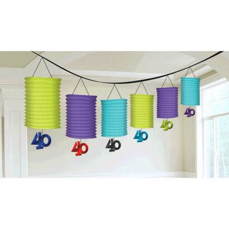 40th Paper Lantern Garlands with Foil Dangler