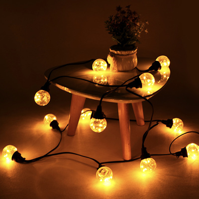 4m 12 Light Bulbs Starry Festoon Lights Connectable - Yellow