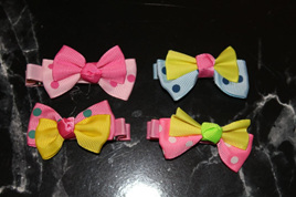 4pk SPOTTY BOW HAIRCLIPS