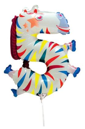 5 Number Zebra Foil Balloon