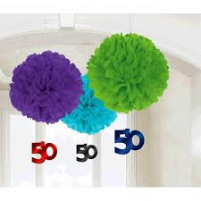 50th Birthday Fluffy Tissue Dec 3 Pack with Foil Dangler