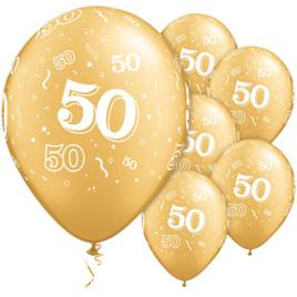 50th Birthday Gold Balloons