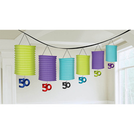 50th Paper Lantern Garlands with Foil Dangler