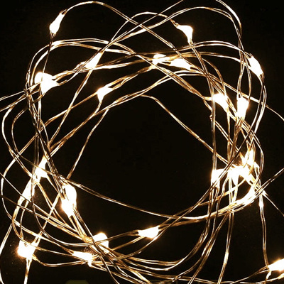 5m 50LED Copper Wire Battery Seed Fairy Lights - Warm White